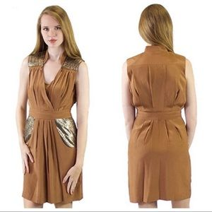 2B Rich Gold Silk Dress with Sequin Detail Size 10